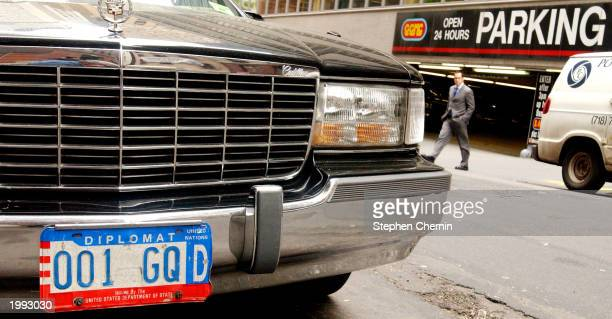 A car with diplomat license plates is parked near the United Nations May 12 2003 in New York City The city launched a plan in 2002 to crack down on...