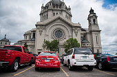 A car with '#Justice4Philando' written on it in the parking lot outside the funeral of Philando Castile at the Cathedral of St Paul on July 14 2016...