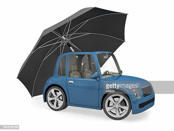 Car with umbrella