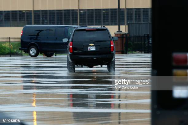 A car with White House Chief of Staff Reince Priebus leaves Joint Andrews Air force base Maryland after he was fired by US President Donald Trump on...