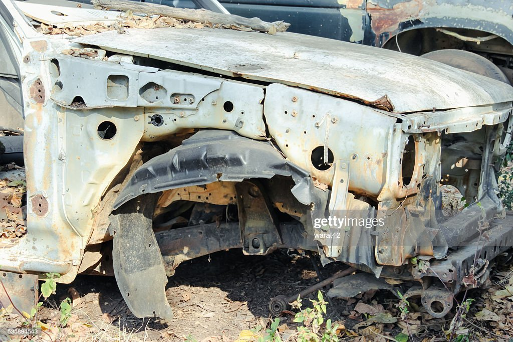 car wreck at a junkyard : Stock Photo