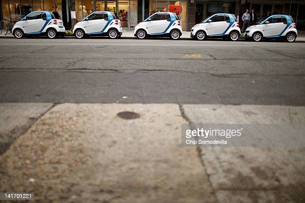 Car2go vehicles are lined up for display March 22 2012 in Washington DC Beginning March 24 car2go will offer the first freefloating carsharing...