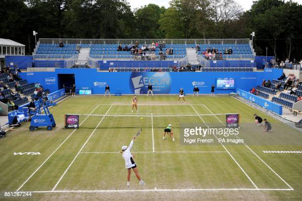 Cara Black and Marina Erakovic in action during their doubles final against Ashleigh Barty and Casey Dellacqua during the AEGON Classic at Edgbaston...