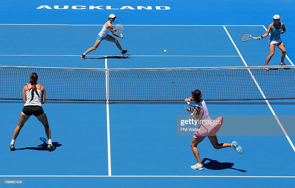 Cara Black of Zimbabwe and Anastasia Rodionova of Australia( top) make a return back to Julia Goerges of Germany and Yaroslava Shvedova of Kazakhstan in their doubles final against during day six of the 2013 ASB Classic at the ASB Arena on January 5, 2013 in Auckland, New Zealand.