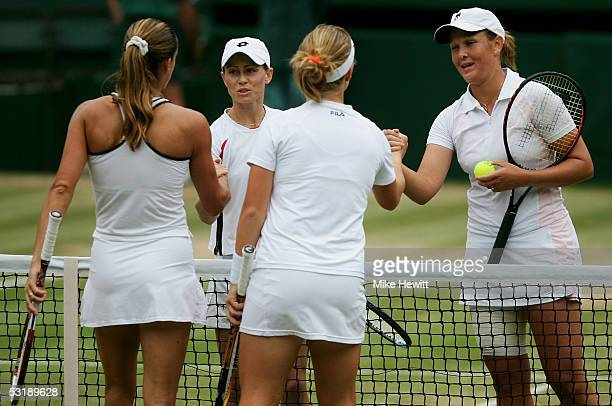 Cara Black of Zimbabwe and Liezel Huber South Africa defeat Svetlana Kuznetsova of Russia and Amelie Mauresmo of France to win the Womens Doubles...