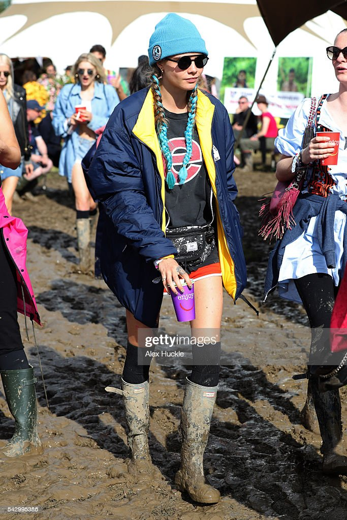 Cara Delevigne attends the Glastonbury Festival at Worthy Farm, Pilton on June 25, 2016 in Glastonbury, England.