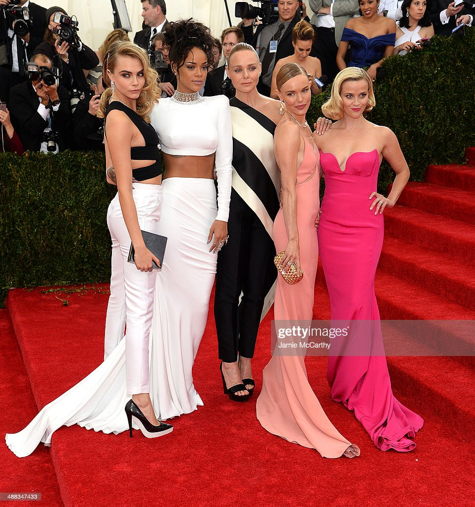 Cara Delevigne, <a gi-track='captionPersonalityLinkClicked' href=/galleries/search?phrase=Rihanna&family=editorial&specificpeople=453439 ng-click='$event.stopPropagation()'>Rihanna</a>, <a gi-track='captionPersonalityLinkClicked' href=/galleries/search?phrase=Stella+McCartney+-+Fashion+Designer&family=editorial&specificpeople=4288678 ng-click='$event.stopPropagation()'>Stella McCartney</a>, <a gi-track='captionPersonalityLinkClicked' href=/galleries/search?phrase=Kate+Bosworth&family=editorial&specificpeople=201616 ng-click='$event.stopPropagation()'>Kate Bosworth</a> and <a gi-track='captionPersonalityLinkClicked' href=/galleries/search?phrase=Reese+Witherspoon&family=editorial&specificpeople=201577 ng-click='$event.stopPropagation()'>Reese Witherspoon</a> attend the 'Charles James: Beyond Fashion' Costume Institute Gala at the Metropolitan Museum of Art on May 5, 2014 in New York City.