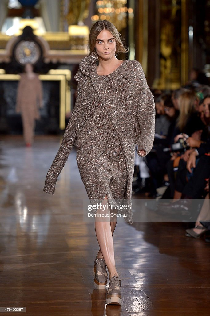 Cara Delevigne walks the runway during the Stella McCartney show as part of the Paris Fashion Week Womenswear Fall/Winter 2014-2015 on March 3, 2014 in Paris, France.