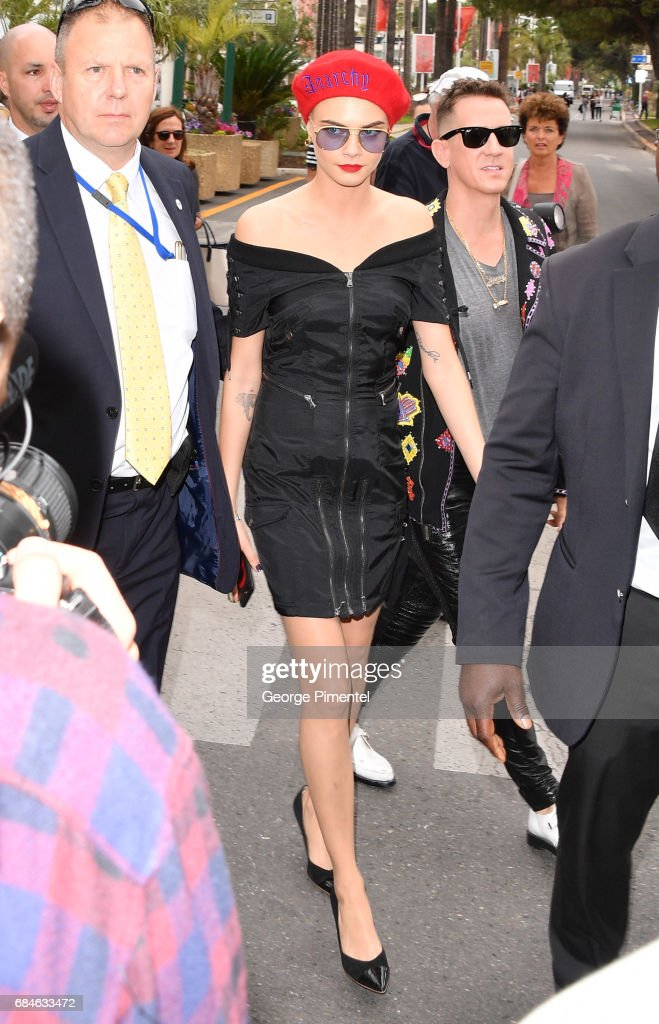 Cara Delevingne and designer Jeremy Scott are spotted as they arrives for the Magnum Ice Cream Press Conference during the 70th annual Cannes Film Festival at on May 18, 2017 in Cannes, France.