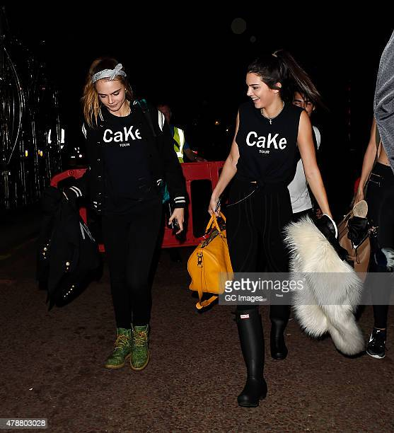 Cara Delevingne and Kendall Jenner leave Hyde Park after watching Taylor Swift and Ellie Goulding perform on June 27 2015 in London England