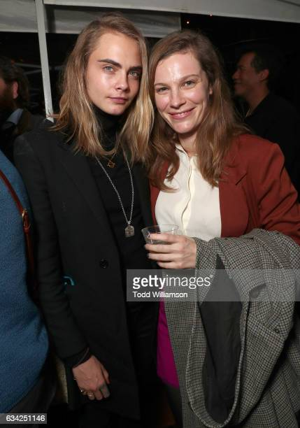 Cara Delevingne and Lindsay Burdge attend the 'XX' Los Angeles Premiere at Cinefamily on February 7 2017 in Los Angeles California
