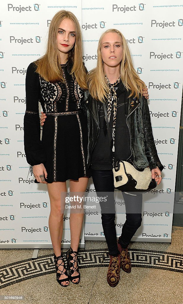 Cara Delevingne and Mary Charteris attend the Project-0 Wave Makers Marine Conservation concert at Scala on December 16, 2015 in London, England.