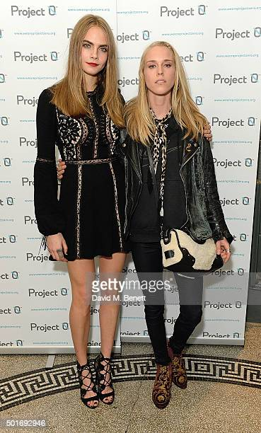 Cara Delevingne and Mary Charteris attend the Project0 Wave Makers Marine Conservation concert at Scala on December 16 2015 in London England