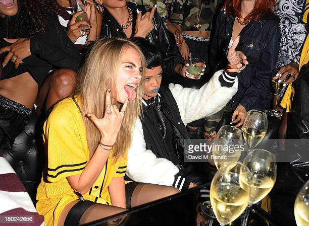 Cara Delevingne and Rihanna attends a photocall to launch to Rihanna for River Island SS14 collection on September 10 2013 in London England