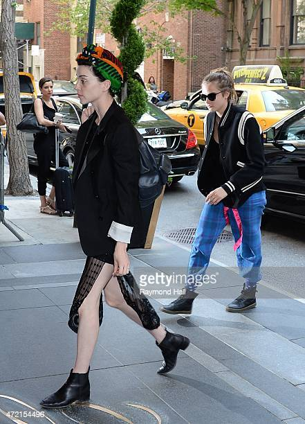 Cara Delevingne and St Vincent is seen in midtown on May 4 2015 in New York City