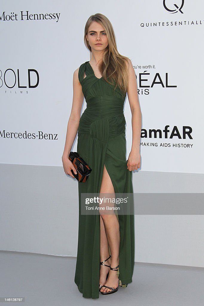 Cara Delevingne arrives at amfAR's Cinema Against AIDS at Hotel Du Cap on May 24, 2012 in Antibes, France.