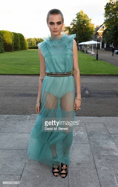 Cara Delevingne attends a dinner hosted by Doutzen Kroes and Lucy Yeomans in honour of Save the Elephants at The Orangery on June 12 2017 in London...