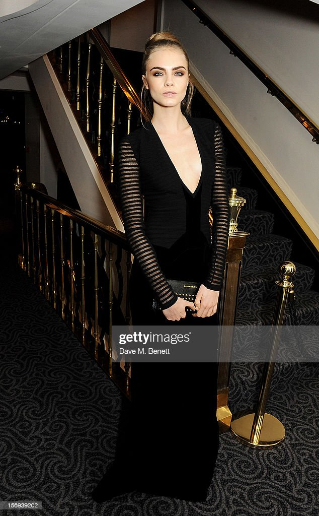 Cara Delevingne attends a drinks reception at the 58th London Evening Standard Theatre Awards in association with Burberry at The Savoy Hotel on November 25, 2012 in London, England.