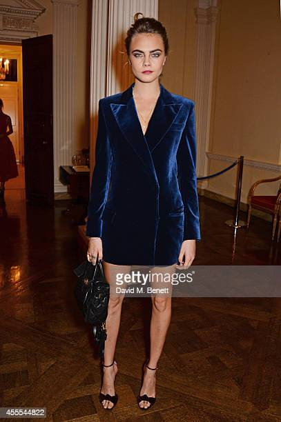 Cara Delevingne attends as Ambassador Barzun Mrs Brooke Barzun and Alexandra Shulman celebrate London Fashion Week at Winfield House in association...