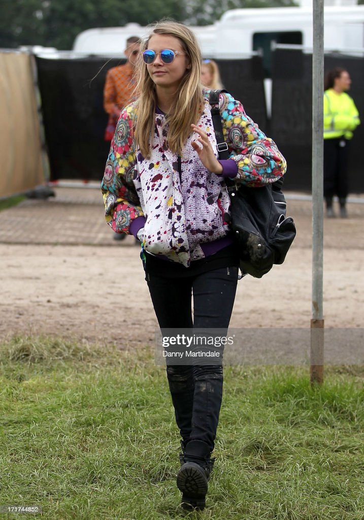 Cara Delevingne attends day 2 of the 2013 Glastonbury Festival at Worthy Farm on June 28, 2013 in Glastonbury, England.