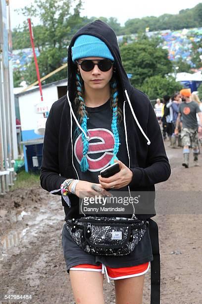 Cara Delevingne attends Day 2 of the Glastonbury Festival 2016 at Worthy Farm Pilton on June 25 2016 in Glastonbury England