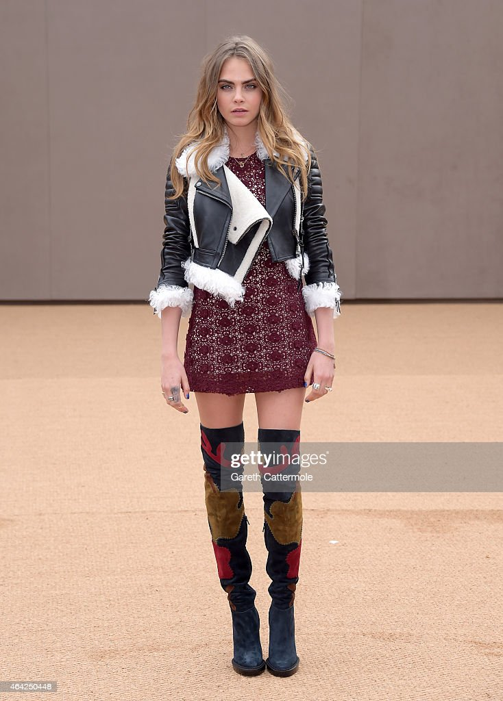 <a gi-track='captionPersonalityLinkClicked' href=/galleries/search?phrase=Cara+Delevingne&family=editorial&specificpeople=5488432 ng-click='$event.stopPropagation()'>Cara Delevingne</a> attends the Burberry Prorsum AW 2015 arrivals during London Fashion Week at Kensington Gardens on February 23, 2015 in London, England.