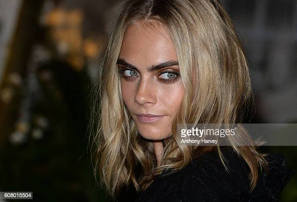 Cara Delevingne attends the Burberry show during London Fashion Week Spring/Summer collections 2017 on September 19 2016 in London United Kingdom