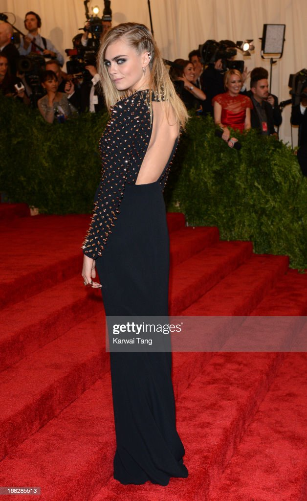 <a gi-track='captionPersonalityLinkClicked' href=/galleries/search?phrase=Cara+Delevingne&family=editorial&specificpeople=5488432 ng-click='$event.stopPropagation()'>Cara Delevingne</a> attends the Costume Institute Gala for the 'PUNK: Chaos to Couture' exhibition at the Metropolitan Museum of Art on May 6, 2013 in New York City.