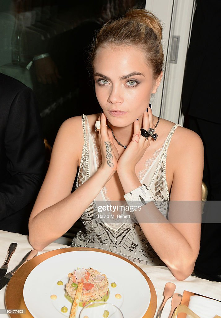 <a gi-track='captionPersonalityLinkClicked' href=/galleries/search?phrase=Cara+Delevingne&family=editorial&specificpeople=5488432 ng-click='$event.stopPropagation()'>Cara Delevingne</a> attends the de Grisogono 'Fatale In Cannes' party during the 67th Cannes Film Festival at Hotel du Cap-Eden-Roc on May 20, 2014 in Cap d'Antibes, France.