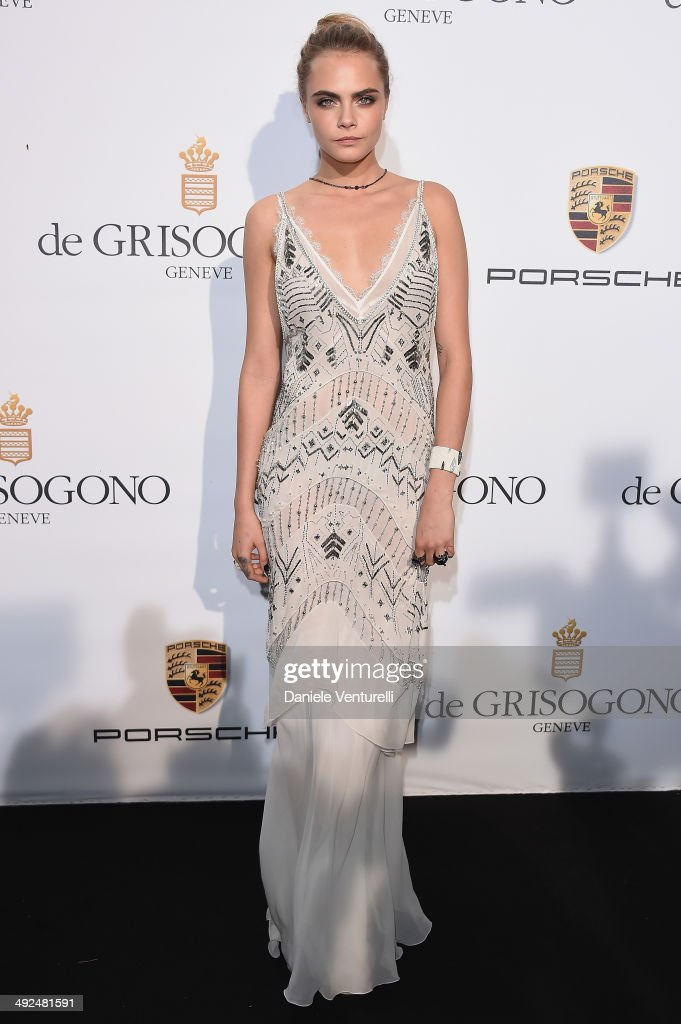 <a gi-track='captionPersonalityLinkClicked' href=/galleries/search?phrase=Cara+Delevingne&family=editorial&specificpeople=5488432 ng-click='$event.stopPropagation()'>Cara Delevingne</a> attends the De Grisogono Party at the 67th Annual Cannes Film Festival on May 20, 2014 in Cap d'Antibes, France.