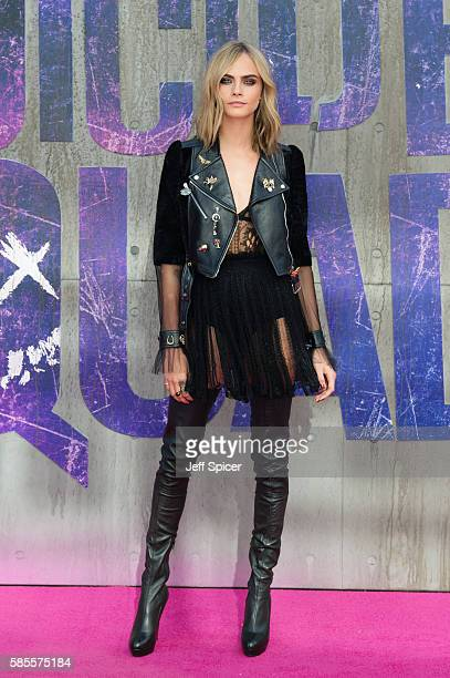 Cara Delevingne attends the European Premiere of 'Suicide Squad' at Odeon Leicester Square on August 3 2016 in London England