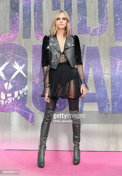 Cara Delevingne attends the European Premiere of 'Suicide Squad' at the Odeon Leicester Square on August 3 2016 in London England