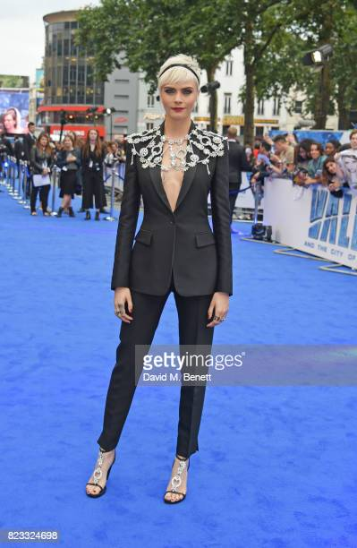 Cara Delevingne attends the European Premiere of 'Valerian And The City Of A Thousand Planets' at Cineworld Leicester Square on July 24 2017 in...