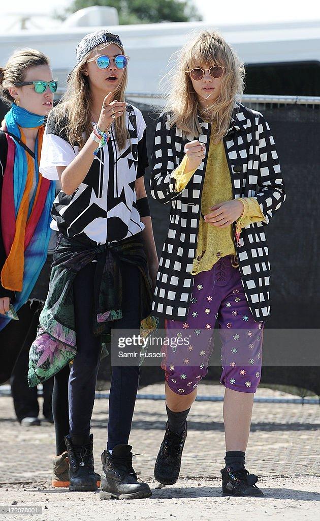 Cara Delevingne attends the Glastonbury Festival of Contemporary Performing Arts at Worthy Farm, Pilton on June 30, 2013 in Glastonbury, England.