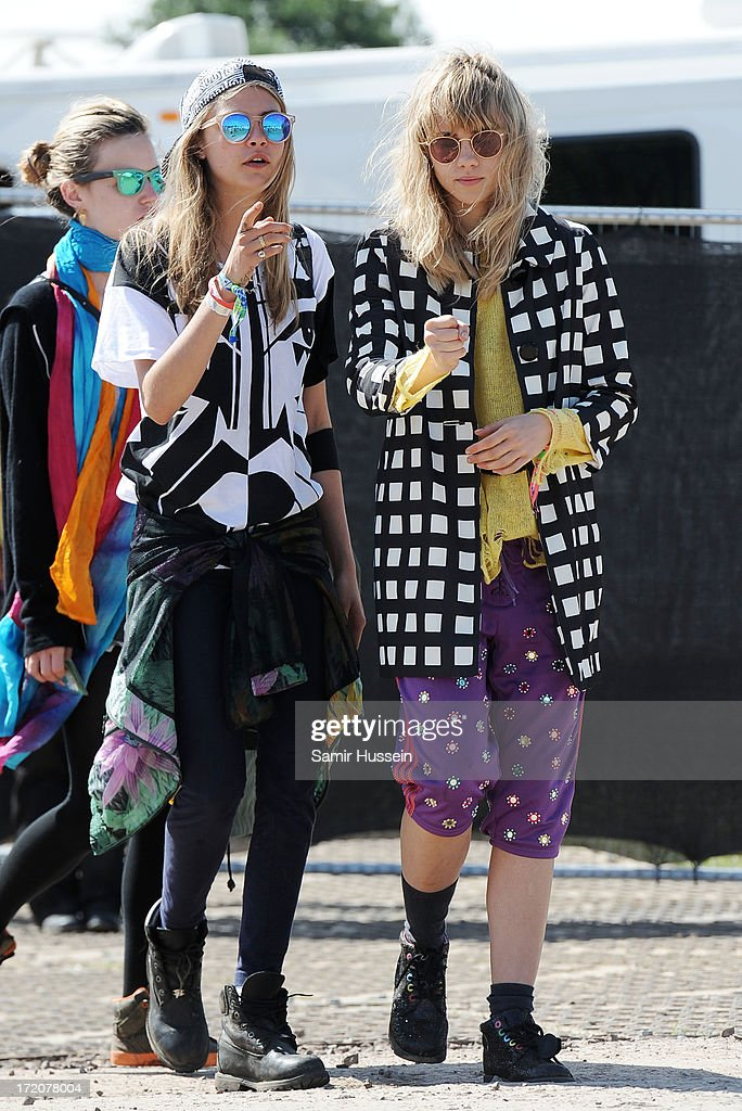 Cara Delevingne attends the Glastonbury Festival of Contemporary Performing Arts at Worthy Farm, Pilton on June 30, 2013 in Glastonbury, England.