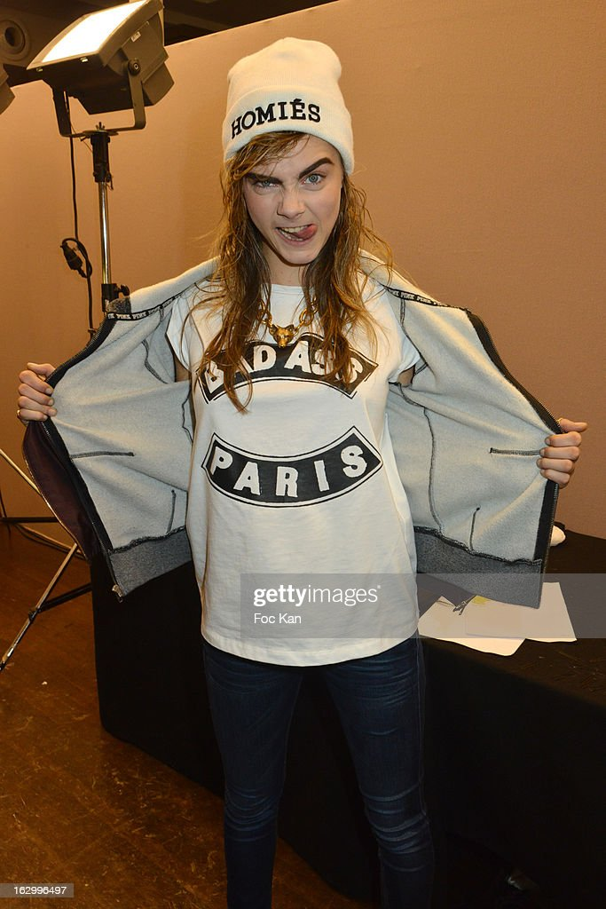 <a gi-track='captionPersonalityLinkClicked' href=/galleries/search?phrase=Cara+Delevingne&family=editorial&specificpeople=5488432 ng-click='$event.stopPropagation()'>Cara Delevingne</a> attends the Jean Paul Gaultier Fall/Winter 2013 Ready-to-Wear show as part of Paris Fashion Week on March 2nd, 2013 in Paris, France.