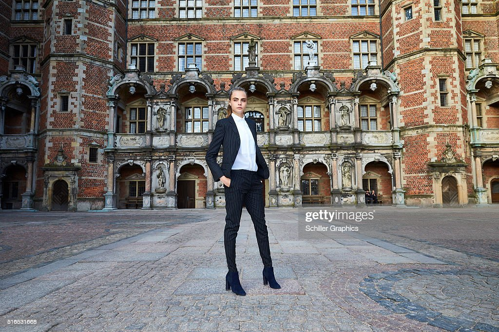 Cara Delevingne attends the 'Jonathan Yeo Portraits' exhibition opening at the Museum of National History at Frederiksborg Castle on March 19, 2016 in Hillerod, Denmark.