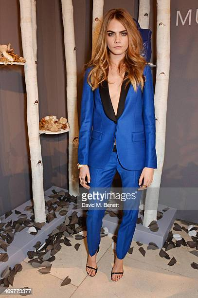 Cara Delevingne attends the Mulberry dinner to celebrate the launch of the Cara Delevingne Collection at Claridge's Hotel on February 16 2014 in...