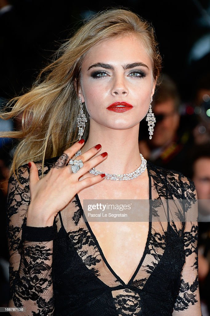 <a gi-track='captionPersonalityLinkClicked' href=/galleries/search?phrase=Cara+Delevingne&family=editorial&specificpeople=5488432 ng-click='$event.stopPropagation()'>Cara Delevingne</a> attends the Opening Ceremony and 'The Great Gatsby' Premiere during the 66th Annual Cannes Film Festival at the Theatre Lumiere on May 15, 2013 in Cannes, France.