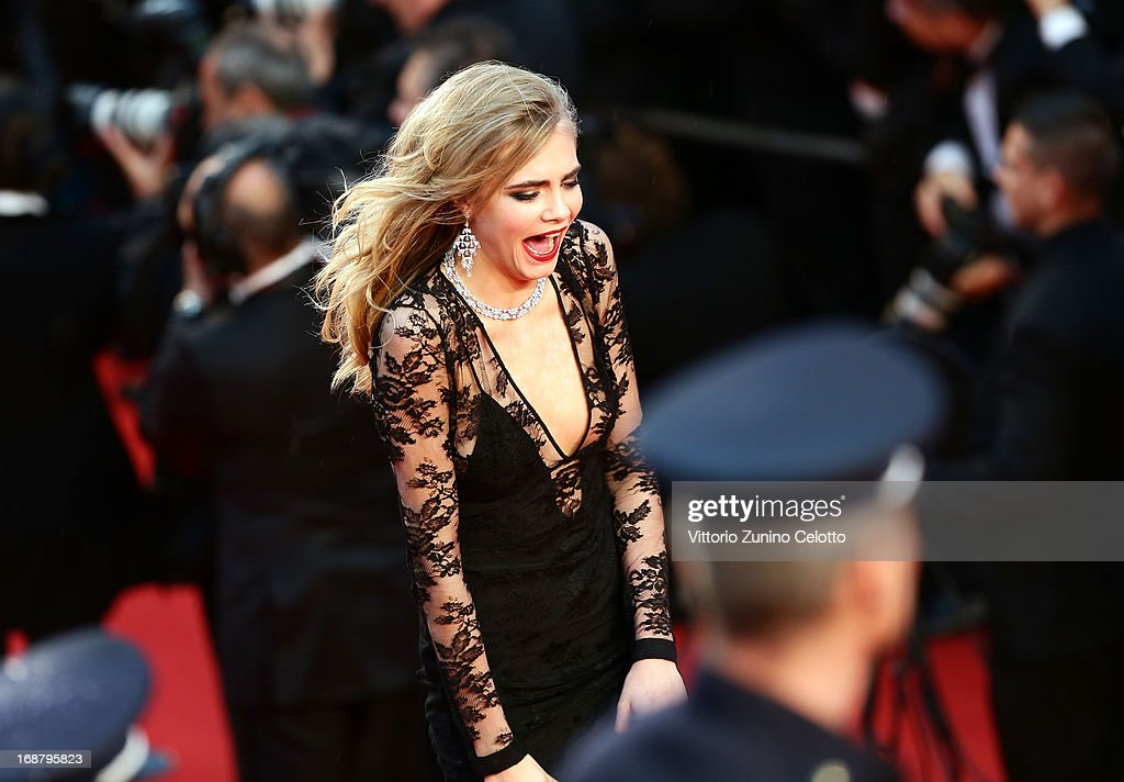 Cara Delevingne attends the Opening Ceremony and 'The Great Gatsby' Premiere during the 66th Annual Cannes Film Festival at the Theatre Lumiere on May 15, 2013 in Cannes, France.