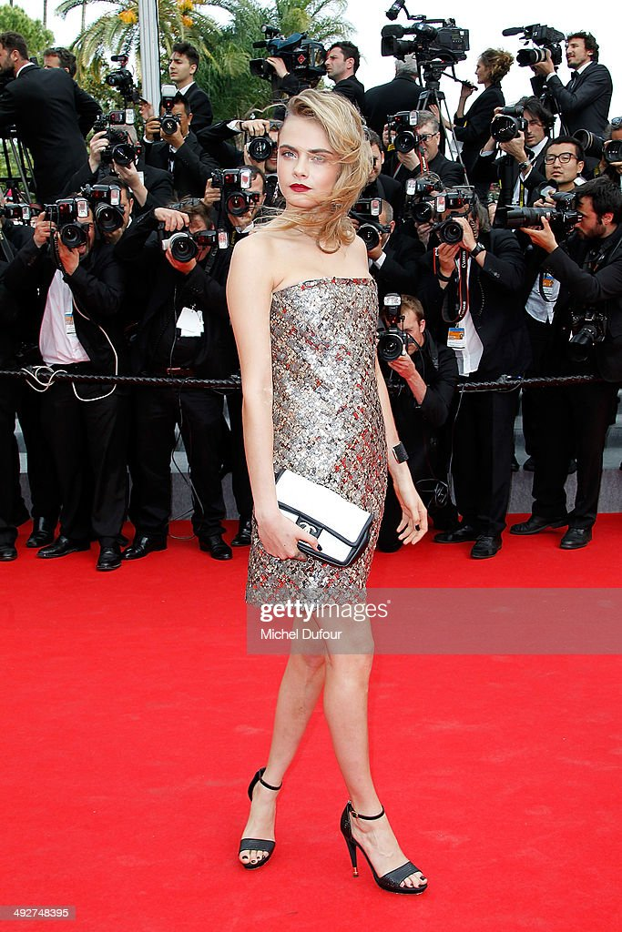 <a gi-track='captionPersonalityLinkClicked' href=/galleries/search?phrase=Cara+Delevingne&family=editorial&specificpeople=5488432 ng-click='$event.stopPropagation()'>Cara Delevingne</a> attends the Premiere of 'The Search' at the 67th Annual Cannes Film Festival on May 21, 2014 in Cannes, France.