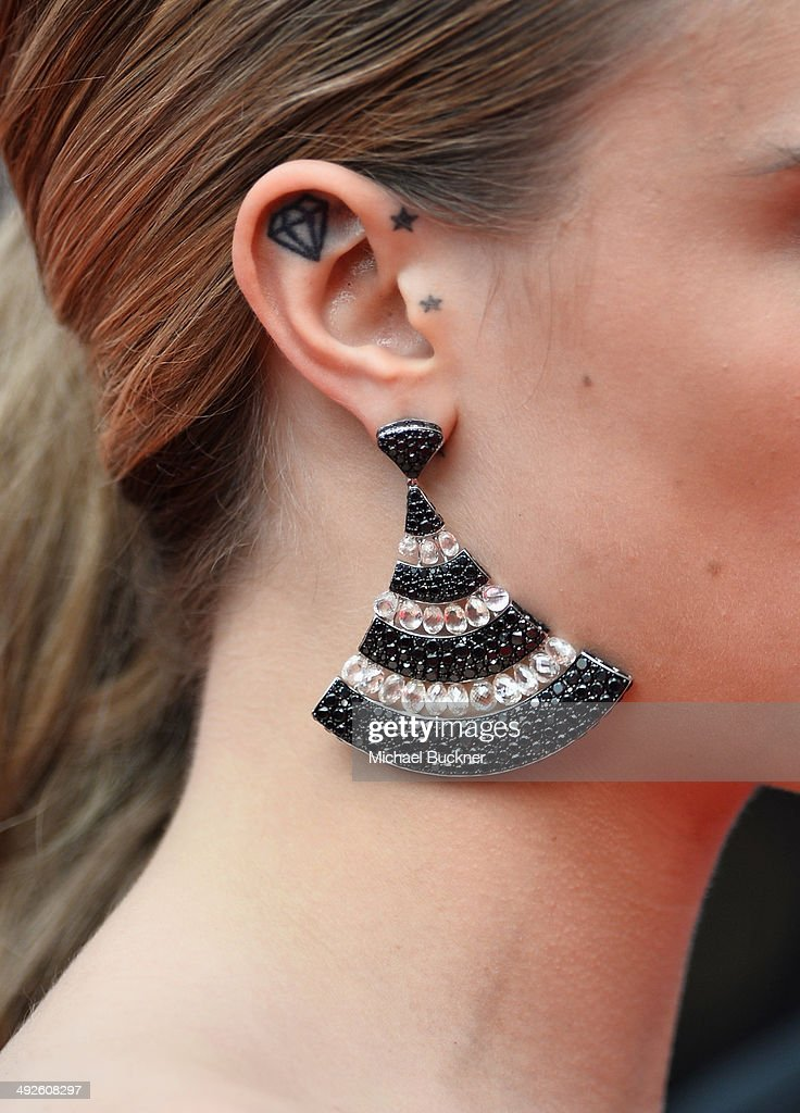Cara Delevingne (jewelry detail) attends 'The Search' premiere during the 67th Annual Cannes Film Festival on May 21, 2014 in Cannes, France.