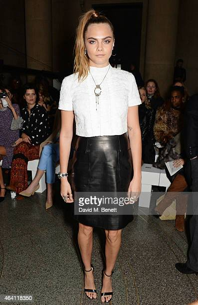 Cara Delevingne attends the Topshop Unique show during London Fashion Week Fall/Winter 2015/16 at Tate Britain on February 22 2015 in London England