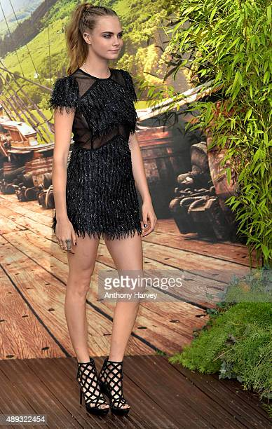Cara Delevingne attends the World Premiere of 'Pan' at Odeon Leicester Square on September 20 2015 in London England