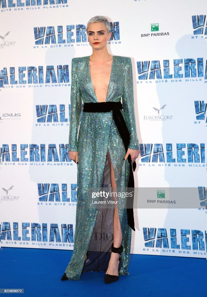 Cara Delevingne attends 'Valerian et la Cite desMille Planetes' Paris Premiere at La Cite Du Cinema on July 25, 2017 in Saint-Denis, France.