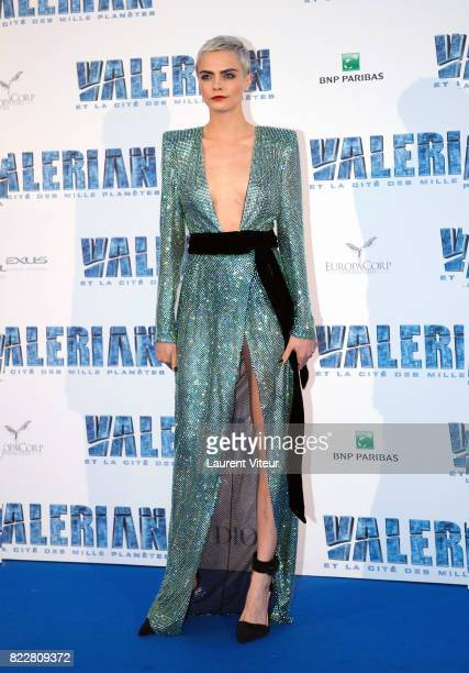 Cara Delevingne attends 'Valerian et la Cite desMille Planetes' Paris Premiere at La Cite Du Cinema on July 25 2017 in SaintDenis France
