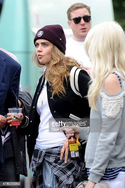 Cara Delevingne backstage at the British Summer Time 2015 at Hyde Park on June 21 2015 in London England