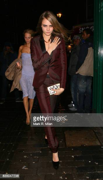 Cara Delevingne departs the Box night club on February 14 2014 in London England
