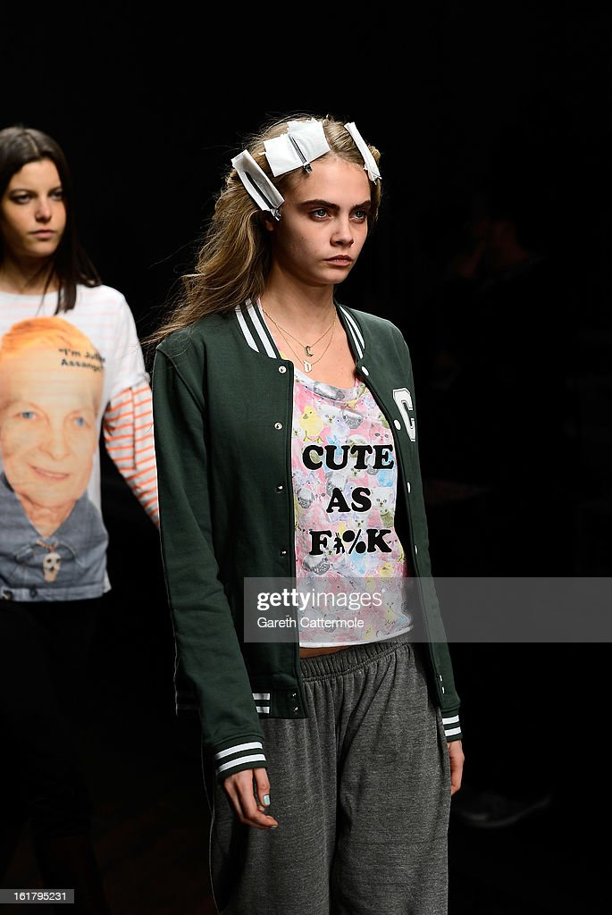 Cara Delevingne during rehearsals for the Issa London show as part of London Fashion Week Fall/Winter 2013/14 at Somerset House on February 16, 2013 in London, England.