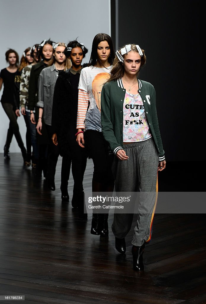 <a gi-track='captionPersonalityLinkClicked' href=/galleries/search?phrase=Cara+Delevingne&family=editorial&specificpeople=5488432 ng-click='$event.stopPropagation()'>Cara Delevingne</a> during rehearsals for the Issa London show as part of London Fashion Week Fall/Winter 2013/14 at Somerset House on February 16, 2013 in London, England.